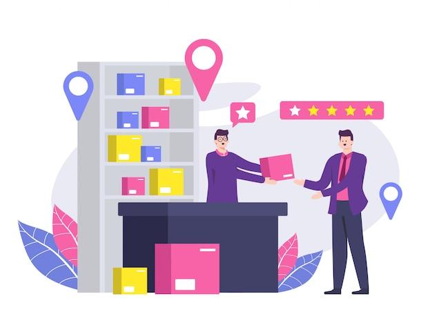 Opinie klientów lub szczęśliwe recenzje klientów i koncepcje nagradzania.
