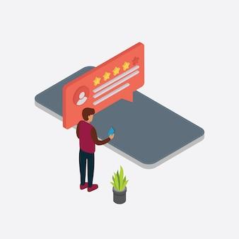 Opinie klientów, ludzie oceniają opinie i opinie za pomocą smartfona izometrycznego