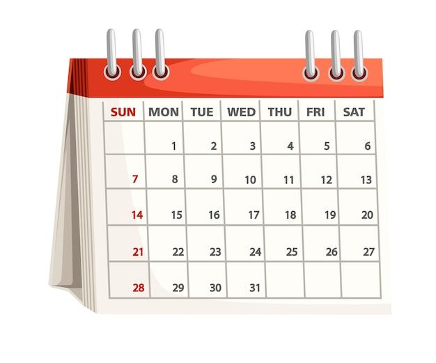 Opis kalendarza. . ilustracja na białym tle.