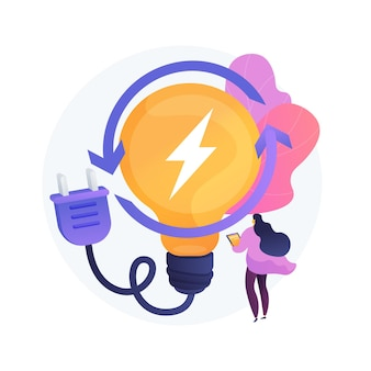 Opłata elektryczna, wytwarzanie energii elektrycznej, produkcja lekka. kobieta użytkownika komputera z postacią z kreskówki urządzenia elektrycznego. ładowanie urządzenia.
