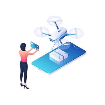 Opłata za dostawę z ilustracji izometrycznej aplikacji mobilnej. postać kobieca płaci za białe pudełko przywiezione przez quadkoptera za pomocą niebieskiej karty kredytowej. koncepcja nowoczesnych usług logistycznych.