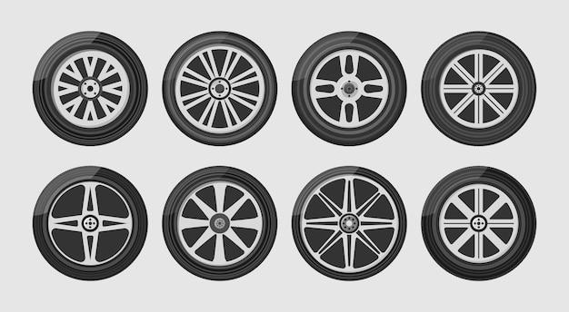 Opona koła do samochodu i motocykla oraz ciężarówki i suv-a. zestaw ikon kół samochodu. round i transport, wyposażenia samochodowego, ilustracja w płaskim projekcie