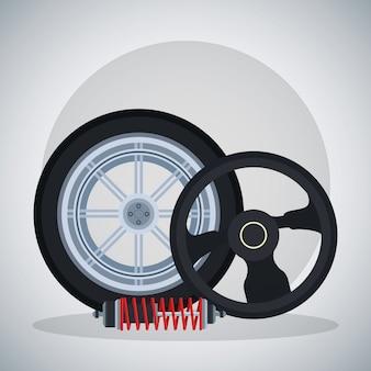 Opona samochodowa z amortyzatorem i kierownicą