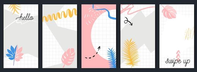 Opowieści szablon zestaw z pociągnięciami pędzla abstrakcyjnej geometrii i bazgrołami. tropikalne liście i kolaż w kratkę. kolory różowy, niebieski i żółty. konfigurowalny układ do projektowania mediów społecznościowych.