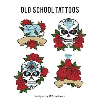Opracowanie tatuaż rocznika z kwiatu szczegóły