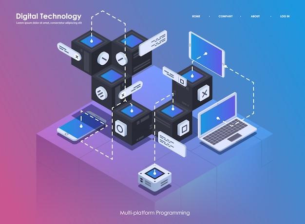 Opracowywanie i programowanie oprogramowania. kodowanie programu twórczego lub procesu systemowego. płaskie izometryczne ilustracja.
