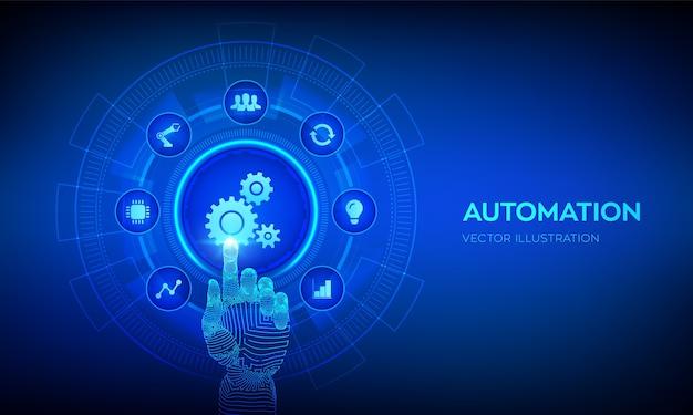 Oprogramowanie do automatyzacji. koncepcja technologii iot i automatyzacji. robotyczna ręka dotykająca interfejsu cyfrowego.