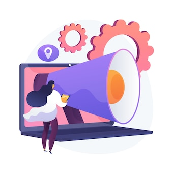 Oprogramowanie do automatyzacji marketingu i crm. rozwiązania internetowe, zarządzanie relacjami z klientami, handel cyfrowy. zarządzanie doświadczeniem klienta. ilustracja wektorowa na białym tle koncepcja metafora