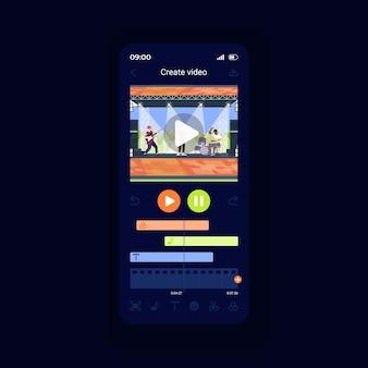 Oprogramowanie do edycji wideo szablon wektor interfejsu smartfona. układ strony aplikacji mobilnej. korekta plików multimedialnych. ulepszanie dzięki profesjonalnemu ekranowi funkcji. płaski interfejs użytkownika do aplikacji. wyświetlacz telefonu