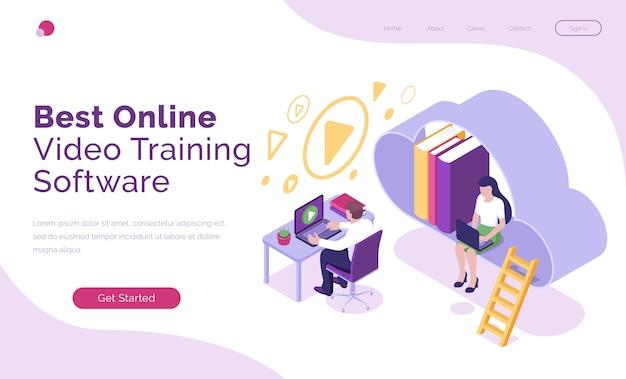 Oprogramowanie do szkolenia wideo online izometryczne lądowanie