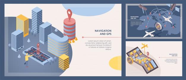 Oprogramowanie nawigacyjne transparent wektor zestaw szablonów