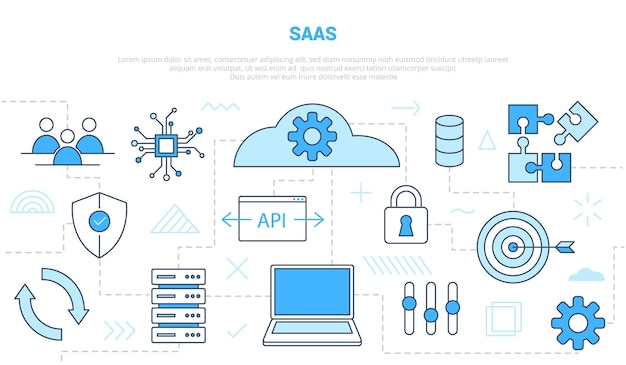 Oprogramowanie saas jako koncepcja usługi z szablonem zestawu stylów linii ikon z nowoczesnym niebieskim kolorem ilustracji wektorowych