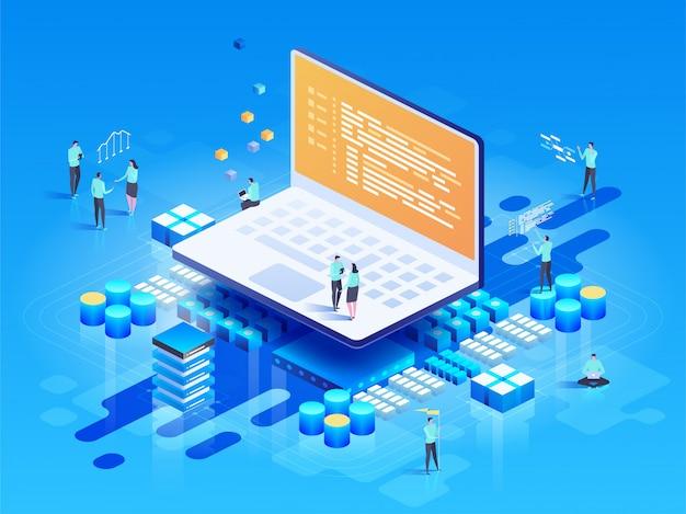 Oprogramowanie, tworzenie stron internetowych, koncepcja programowania. osoby wchodzące w interakcje z laptopem