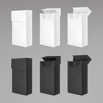 Opróżnij białe i czarne paczki papierosów
