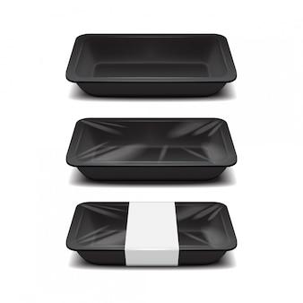 Opróżnij magazyn żywności ze styropianu. plastikowa taca na czarne jedzenie, zestaw pojemników na posiłki z pianki z białą etykietą