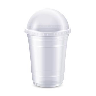 Opróżnij przezroczysty plastikowy kubek jednorazowy z pokrywką