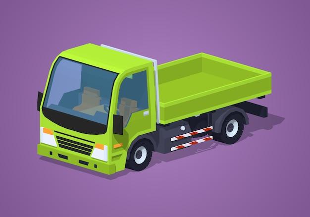 Opróżnij zieloną ciężarówkę izometryczną lowpoly 3d