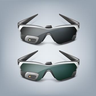 Optyczny wyświetlacz do montażu na głowie lub widok z przodu inteligentnych okularów rzeczywistości rozszerzonej na białym tle na szarym tle