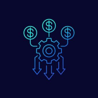 Optymalizacja przepływu środków pieniężnych, ikona linii zarządzania pieniędzmi