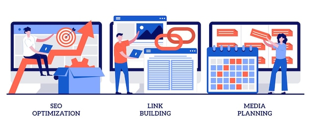 Optymalizacja seo, budowanie linków, koncepcja planowania mediów z małymi ludźmi. zestaw ilustracji streszczenie rozwoju biznesu w internecie. strategia sieciowa, metafora zarządzania zadaniami.