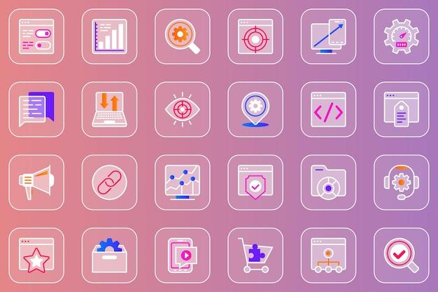 Optymalizacja seo internetowych zestaw ikon glassmorphic