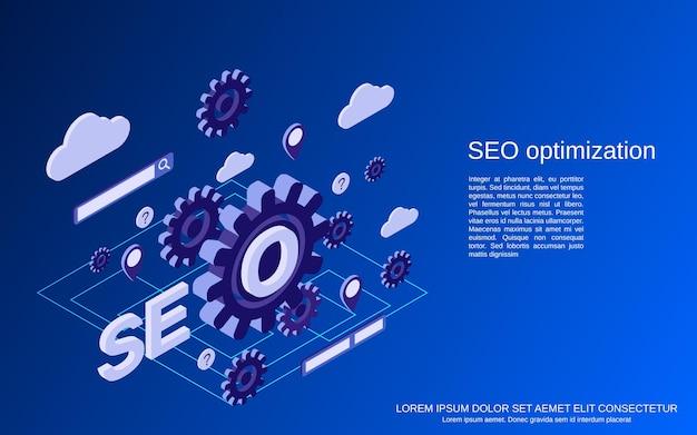 Optymalizacja seo, wyszukiwanie informacji, ilustracja koncepcja płaskiej izometrycznej analizy danych