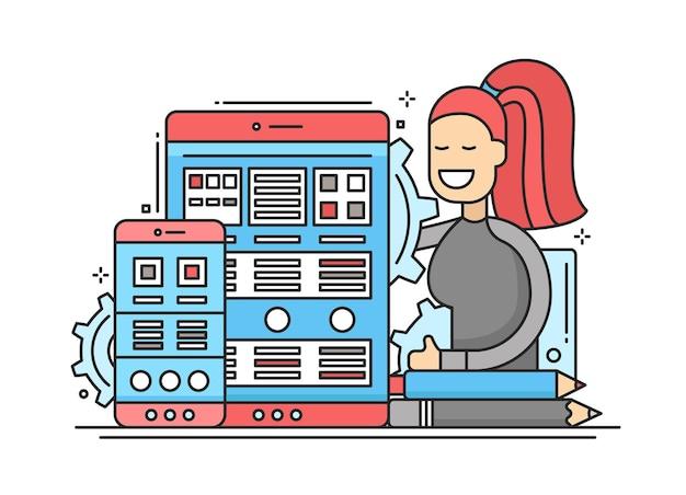 Optymalizacja strony internetowej - nowoczesna ilustracja z urządzeniami mobilnymi i uśmiechniętą kobietą