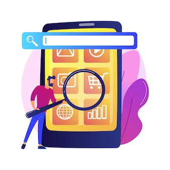 Optymalizacja wyszukiwarki. promocja online. postać z kreskówki menedżera smm. ustawienia mobilne, dostosowanie narzędzi, platforma biznesowa. analiza strony internetowej.