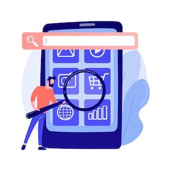 Optymalizacja wyszukiwarki. promocja online. postać z kreskówki menedżera smm. ustawienia mobilne, dostosowanie narzędzi, platforma biznesowa. ilustracja koncepcja analizy witryny