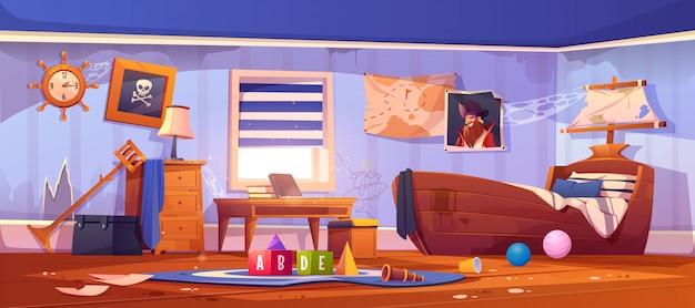 Opuszczona sypialnia dla dzieci w stylu pirackim, wnętrze