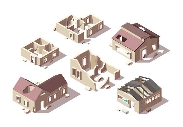 Opuszczone budynki. izometryczne zepsute domy miasto zrujnowane obiekty zestaw obiektów architektonicznych.