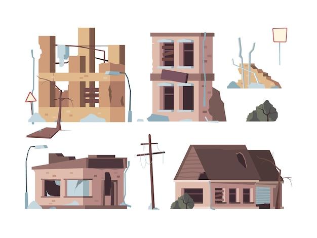 Opuszczone domy. stare kłopoty uszkodzone fasady zepsute zewnętrzne zniszczone budynki wektorowe płaskie zdjęcia. zepsuta porzucona, zniszczona i zniszczona ilustracja