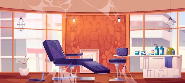 Opuszczone studio tatuażu lub wnętrze salonu kosmetycznego