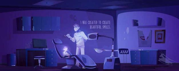 Opuszczony gabinet dentystyczny z przerażającym lekarzem i dziecięcymi duchami w nocy.