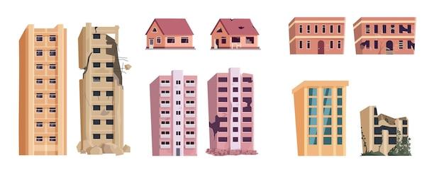 Opuszczony wieżowiec, dom wiejski i zestaw do budowania rynku. element projektu dla apokaliptycznego krajobrazu miasta, wypalony i zniszczony przez bombardowanie izolowanej ilustracji wektorowych budowy mieszkań