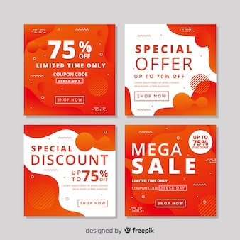 Orang zestaw nowoczesnych banerów sprzedażowych dla mediów społecznościowych
