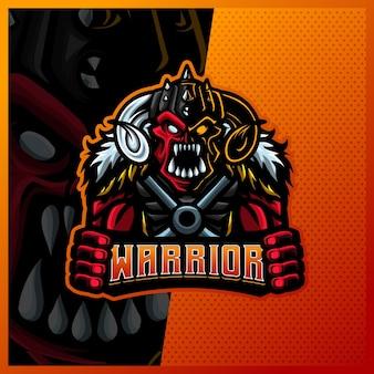 Orc viking gladiator warrior maskotka esport logo szablon ilustracje, styl kreskówki