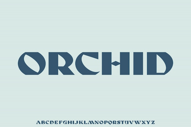Orchid, nowoczesny zestaw liter alfabetu