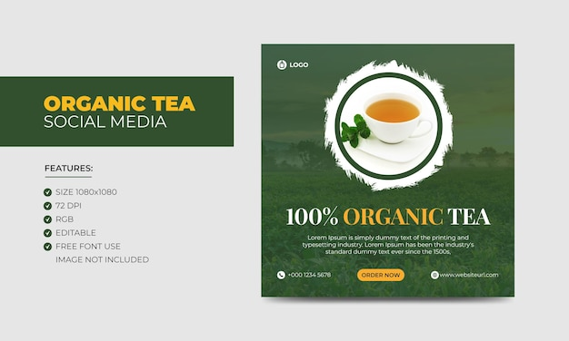 Organic tea social media szablon postu na facebooka na instagram