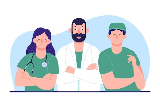 Organiczna grupa lekarzy i pielęgniarek płaskich