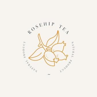 Organiczna herbata ziołowa z dzikiej róży. szablon logo w modnym stylu liniowym na białym tle