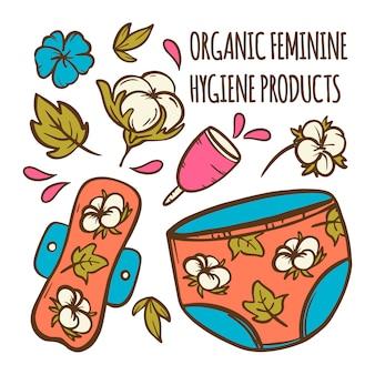 Organiczna kobieca ginekologiczna opieka zdrowotna zero odpadów kobiety higiena ręcznie rysowane wektor zestaw ilustracji