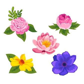 Organiczna Kolekcja Płaskich Kwiatów Darmowych Wektorów
