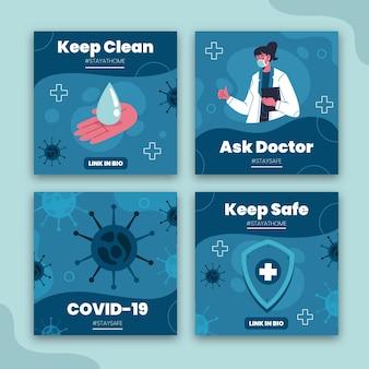 Organiczna kolekcja postów na instagramie z płaskim koronawirusem