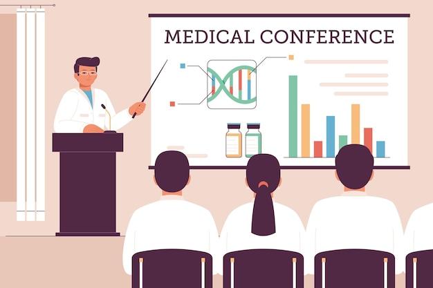 Organiczna konferencja medyczna o płaskiej konstrukcji