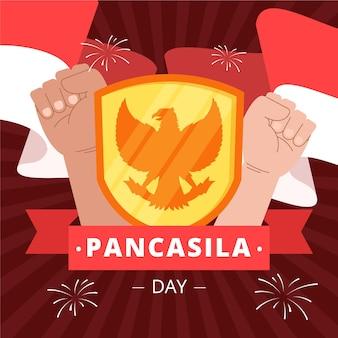 Organiczna płaska ilustracja dnia pancasila