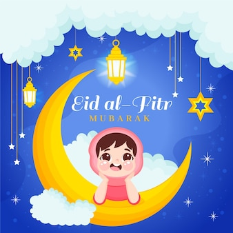 Organiczna płaska ilustracja eid al-fitr