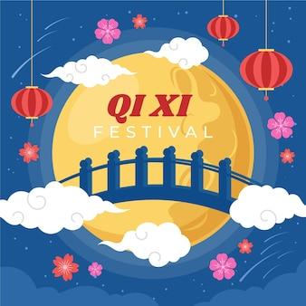 Organiczna płaska ilustracja qi xi day