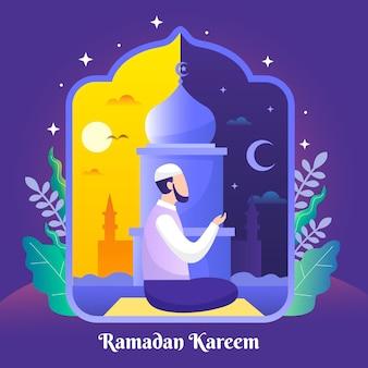 Organiczna płaska ilustracja ramadanu
