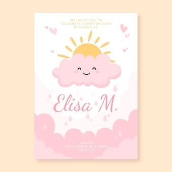 Organiczna płaska karta zaproszenie na baby shower z chuva de amor